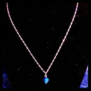 Jewelry - GENUINE 9mm BLUE-GREEN FIRE OPAL NECKLACE